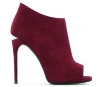 Burgundy suede boot with sculpted heel with crystals KELLEN