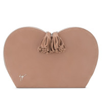 190x180 mm pink suede 'Heart' clutch SUZANNE