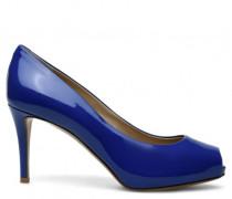 Blue patent open-toe pump DEBBY 80