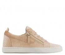 Python-embossed leather low-top sneaker JAMIE