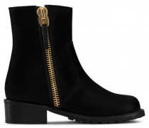 Black leather boot with zips STEPH