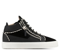 Leather and suede mid-top sneaker with crystals CRAIG