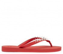 Red rubber flip-flop sandal with studs THORN