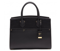 Black calfskin leather handbag ANGELINA
