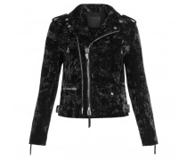 Black velvet motorcycle jacket AMELIA