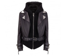 Black leather hoodie jacket CYNTHIA