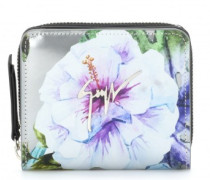 Patent leather wallet with printed flowers SPRING