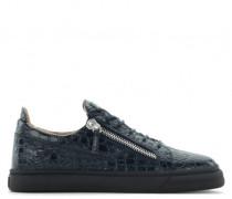 Blue crocodile embossed leather low-top sneaker FRANKIE
