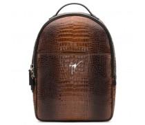 Brown crocodile embossed calfskin backpack BROCK