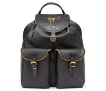 Black nappa and calf leather backpack REGIMENT