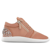 Pink suede 'runner' sneaker with crystals MELLY