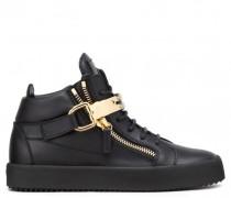 Black calf leather high-top sneaker NICKI
