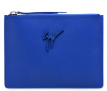 Blue calfskin leather pouch MARCEL