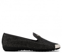 Black stranded calf leather loafer with glitter finishing SANDIE