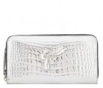 Crocodile-embossed leather wallet PAULA