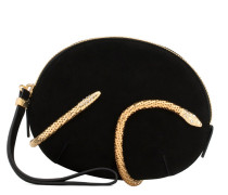Suede clutch with snake accessory ALEESHA