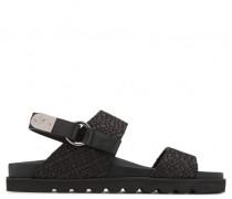 Black stranded calfskin sandal DUANE