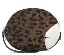 Leopard calf hair clutch with metal insert GINNY