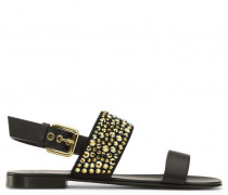 Black calfskin sandal with crystals CLIFF
