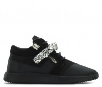 Black leather 'runner' sneaker with crystal bar DONA