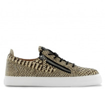 Phyton-embossed leather low-top sneaker FRANKIE