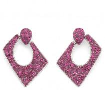 Fuchsia crystals squared earrings JASMINE CRYSTAL