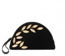 Black suede clutch with gold leaves DANIELLE