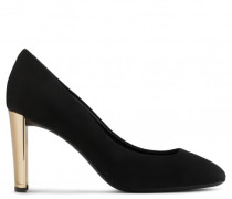 Black suede pump with mirrored gold chunky heel LAURINE