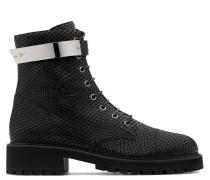 Python-embossed leather biker boot HARVEY
