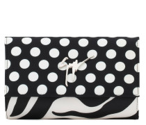 Satin clutch with signature CLEPOPATRA