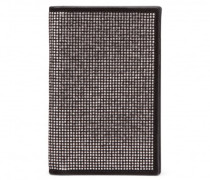 Black suede wallet with grey metal studs BLAKE