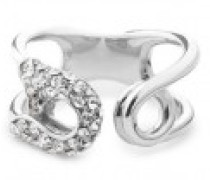 Silver-tone brass ring with crystals SIAN