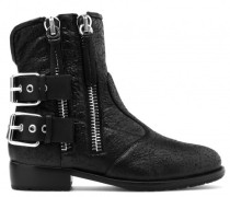 Black textured calfskin boots with zips HARLEY
