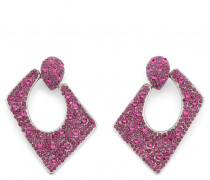 Fuchsia crystals squared earrings JASMINE CRYSTAL