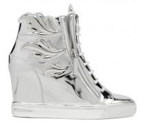 Mirrored silver leather wedge sneaker with Cruel accessories CRUEL