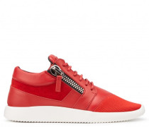 Red fabric high-top sneaker with zips RUNNER