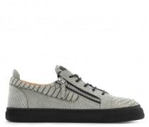 Crocodile-embossed leather low-top sneaker FRANKIE