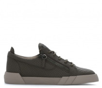 Grey python-embossed leather low-top sneakers THE SHARK 5.0 LOW