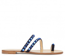 Blue suede flat sandal with crystals HILLARY