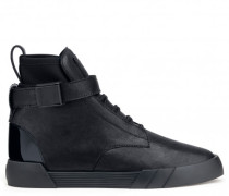 Black leather high-top sneaker THE SHARK 6.0
