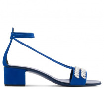 40mm blue suede sandal with crystals CINDY