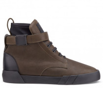 Dark grey leather high-top sneaker THE SHARK 6.0
