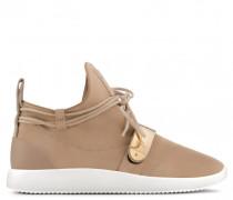 Beige suede sneaker with metal accessory HAYDEN