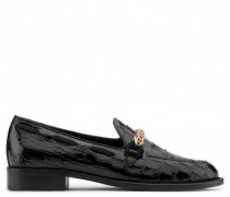 Black patent crocodile-embossed loafer with snake GRADY