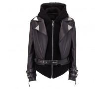 Black leather hoodie jacket CYNTHIA