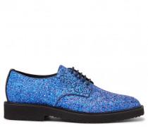 Fabric shoe with blue glitter finishing ELLIOT