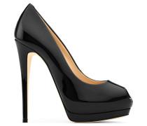 Black patent leather open-toe pump SHARON 120