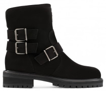 Black suede boot with buckles MAUDE