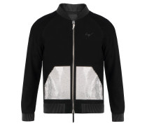 Suede bomber jacket with studs inserts LANCE