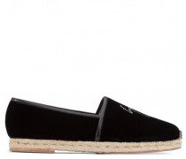 Black velvet espadrille with tissue tip LUCIUS